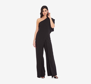 Petite Flutter One Shoulder Jumpsuit In Black