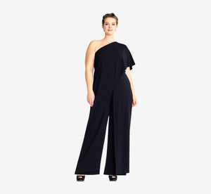 Plus Size Flutter One Shoulder Jumpsuit In Black