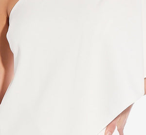 Petite Flutter One Shoulder Jumpsuit In Ivory
