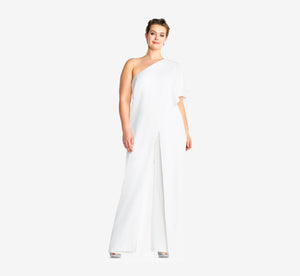 Plus Size Flutter One Shoulder Jumpsuit In Ivory