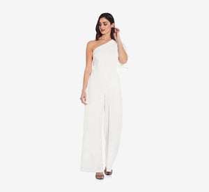 Flutter One Shoulder Jumpsuit In Ivory