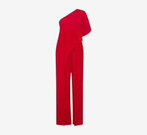 Flutter One Shoulder Jumpsuit In Red