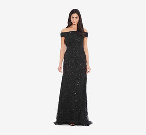 Off The Shoulder Sequin Beaded Gown In Black