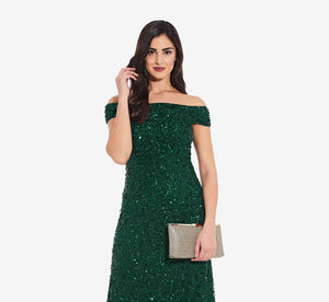 Off The Shoulder Sequin Beaded Gown In Dusty Emerald