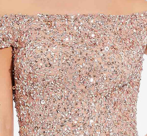 Off The Shoulder Sequin Beaded Gown In Rose Gold