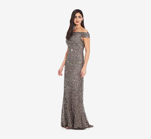 Off The Shoulder Sequin Beaded Gown In Lead