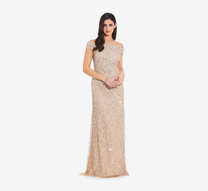 Off The Shoulder Sequin Beaded Gown In Champagne