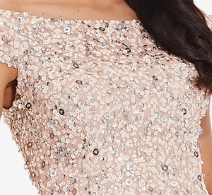Off The Shoulder Sequin Beaded Gown In Blush