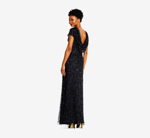 Short Sleeve Sequin Beaded Gown With Cowl Back In Black