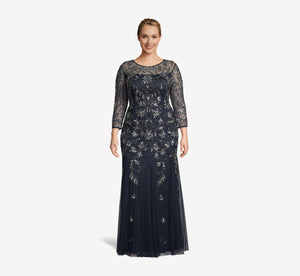 Plus Size Sheer Three Quarter Sleeve Vine Beaded Gown With Godet Skirt In Midnight