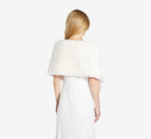 Faux Fur Shawl With Brooch Closure In Ivory