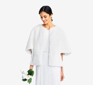 Faux Fur Open Front Cape Jacket In Ivory