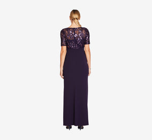 Short Sleeve Mermaid Gown With Sequin Lace Bodice In Aubergine