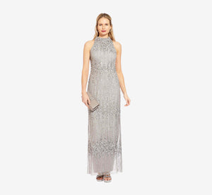 Petite Beaded Column Gown With Mock Neckline In Blue Mist