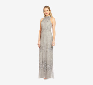 Beaded Column Gown With Mock Neckline In Blue Mist