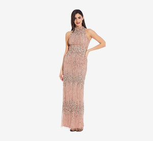 Petite Beaded Column Gown With Mock Neckline In Rose Gold