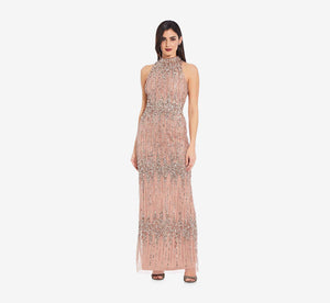 Beaded Column Gown With Mock Neckline In Rose Gold
