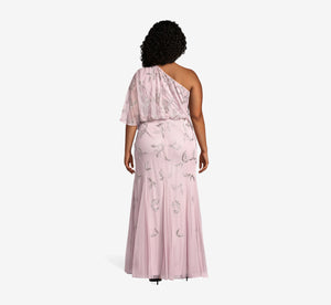Plus Size One Shoulder Filigree Beaded Dress In Dusted Petal