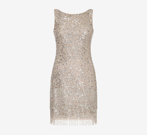 Petite Sleeveless Beaded Cocktail Dress In Silver