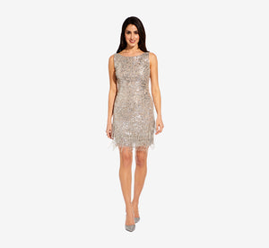 Sleeveless Beaded Cocktail Dress In Silver