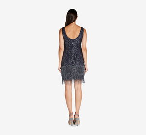 Sleeveless Beaded Cocktail Dress In Midnight