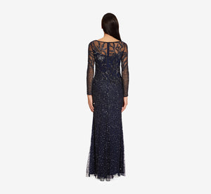 Floral Beaded Dress With Sheer Long Sleeves In Midnight