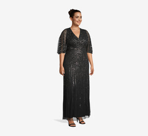 Plus Size Sequin V Neck Dress With Flutter Sleeves In Black Mercury