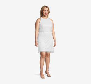 Plus Size Art Deco Cocktail Dress With Halter Neck In Ivory