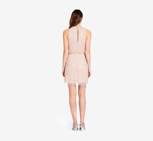 Art Deco Cocktail Dress With Halter Neck In Blush