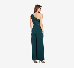 Asymmetrical Jumpsuit With Sequin Bodice In Dusty Emerald