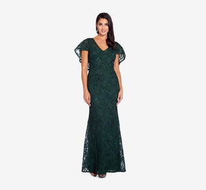 Metallic Lace Mermaid Dress With Cape Detail In Dusty Emerald