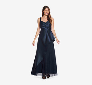 Sleeveless Asymmetrical Dress With Pleated Detail In Midnight
