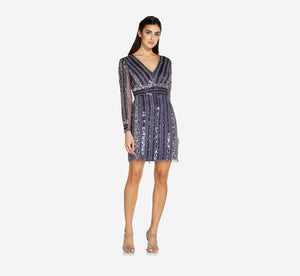 Long Sleeve Cocktail Dress With Sequin Striped Detail In Smoky Peri