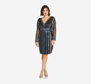 Plus Size Long Sleeve Cocktail Dress With Sequin Striped Detail In Black Multi