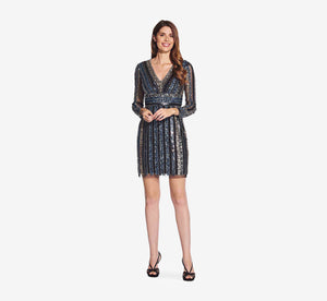 Long Sleeve Cocktail Dress With Sequin Striped Detail In Black Multi