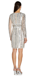 Long Sleeve Cocktail Dress With Sequin Striped Detail In Ivory Silver