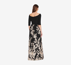 Off The Shoulder Floral Dress With A Line Skirt In Black Cream