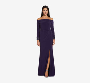Long Off The Shoulder Dress With Beaded Detail In Aubergine