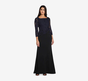 Three Quarter Sleeve Mermaid Dress With Floral Embroidery In Midnight