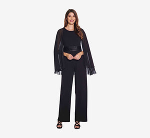 Cape Jumpsuit With Contrasting Belted Waist In Black