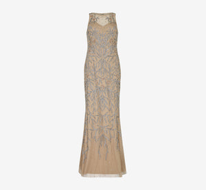 Sleeveless Sequin Dress With Beaded Detail In Champagne