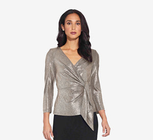 Metallic Wrap Top In Light Gold
