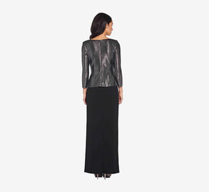 Metallic Wrap Top In Black Gunmetal