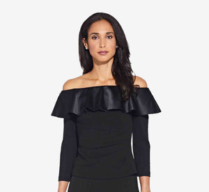 Off The Shoulder Ruffle Top With Three Quarter Sleeves In Black