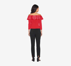 Off The Shoulder Ruffle Top With Three Quarter Sleeves In Cardinal