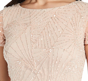 Beaded Blouson Top With Sequin Detail In Shell