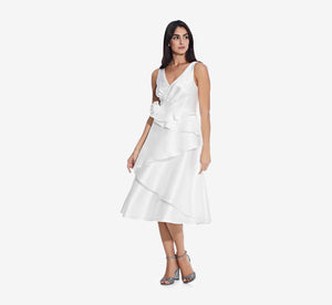 Midi Sleeveless Dress With Tiered Skirt In Ivory