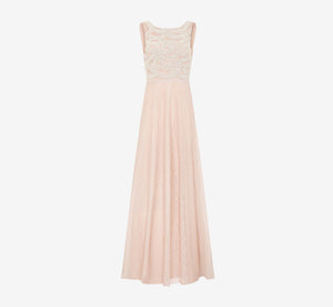 Sleeveless Dress With Pearl Bodice In Shell
