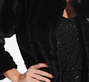 Faux Fur Jacket With Three Quarter Sleeve In Black