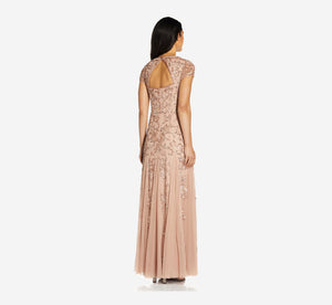 Long Beaded Dress With Cap Sleeves In Rose Gold